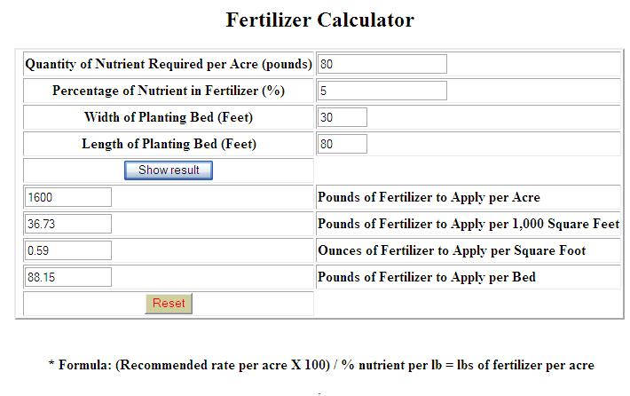 Fertilizer Calculator
